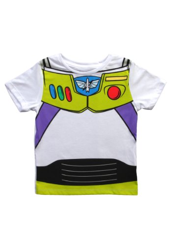 [Toy Story Buzz Lightyear Astronaut Costume White T-shirt Tee (Toddler 4T)] (Buzz Lightyear Costumes Women)