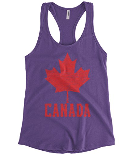 Cybertela Women's Canadian Flag Canada Maple Leaf Racerback Tank Top (Purple, Medium)