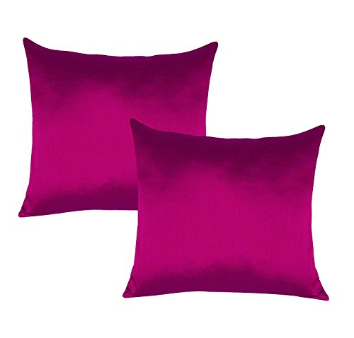 - Decorative Dark Pink Poly Taffeta Silk Pillow Home Decor Cushion Cover 2 Pcs Bed Sofa Case 22