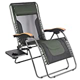 PORTAL Oversized Mesh Back Zero Gravity Recliner Chairs, XL Padded Seat Adjustable Patio Lounge Chair with Lumbar Support Pillow and Side Table Support 350lbs (Dark Green)