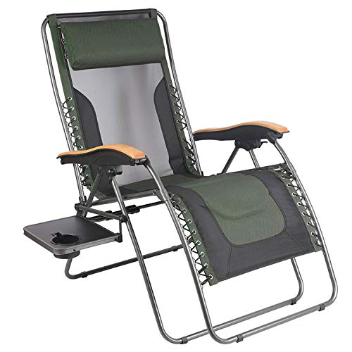 PORTAL Oversized Mesh Back Zero Gravity Recliner Chairs, XL Padded Seat Adjustable Patio Lounge Chair with Lumbar Support Pillow and Side Table Support ()