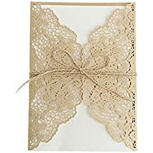 cici store 10Pcs Hollow Lace Wedding Invitation Cards Kit with Envelopes Personalized Greeting Cards (Gold)