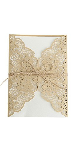 cici store 10Pcs Hollow Lace Wedding Invitation Cards Kit with Envelopes Personalized Greeting Cards (Gold)]()