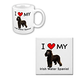 I Love My Irish Water Spaniel Coffee Cup With Matching Tile Set 8