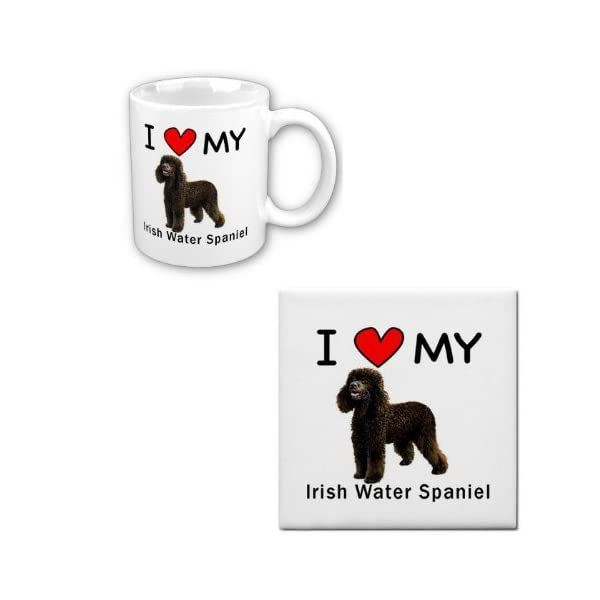 I Love My Irish Water Spaniel Coffee Cup With Matching Tile Set 1