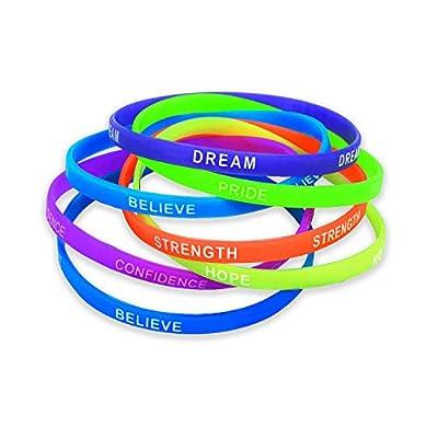 Thin Inspirational Sayings Bracelets for Kids (1 Dozen) Motivational Sayings: Toys & Games