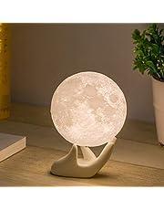Mydethun Maan Lamp Maan Licht Nachtlampje voor Kids Gift voor Vrouwen USB Opladen en Touch Control Helderheid 3D Gedrukt Warm en Koel Wit Maanlamp (3.5In Maan lamp met Stand)