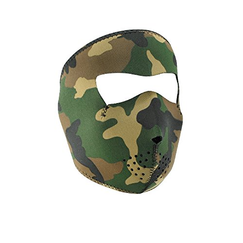 Zan Headgear WNFMT118, Full Mask, Neoprene, Tactical, 4.0mm Thick, Woodland Camo