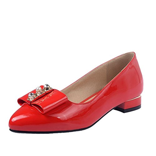 Faux Low Dress Chunky Heel Pointed toe Fashion Shoes Bow Patent leather Pumps Red Latasa Womens EHwq8R