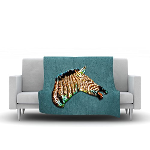 Kess InHouse Ancello Laughing Zebra Teal Fleece Throw Blanket 80 by 60