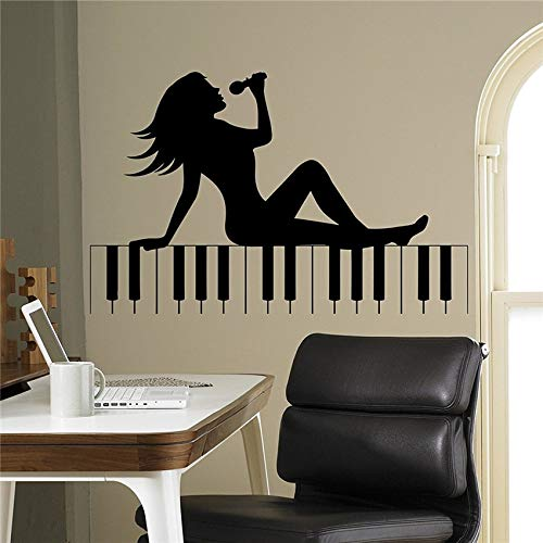 (ggeion Wall Decal Sticker Mural Vinyl Arts and Sayings Mural Art Piano Keys Sexy Girl Silhouette Music Home Interior Arts)