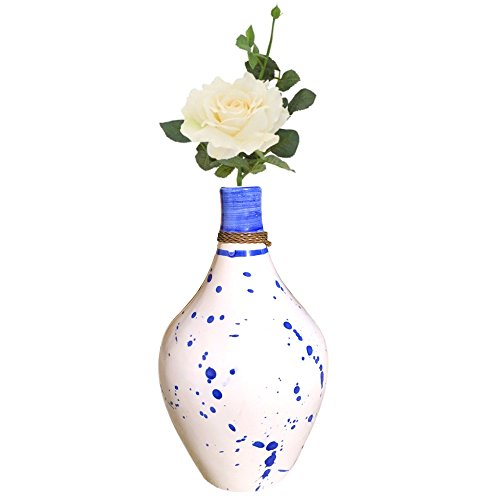 Kauri White Ceramic Vase - Cobalt Blue Splatter Pottery Vase | Real and Artificial Flower Decorative Display for Modern Home Styles