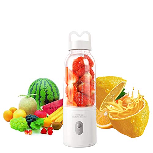 【2019 Upgraded Version】Portable Blender YTAT Mini Smoothie Blender USB Personal Blender 500ml Juicer Cup Fruit Mixer with 4000mAh Rechargeable Battery, BPA Free (white) (Best Blenders For Smoothies 2019)