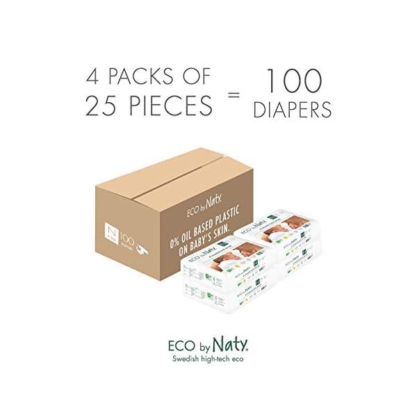 Eco by Naty, Taglia 0, 100 pannolini, -4.5kg, fornitura di UN MESE, Pannolino eco premium a base vegetale con lo 0% di… 6