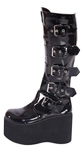 Kassiopeya Gothic Plateau Boots Schwarz Gr 36-43