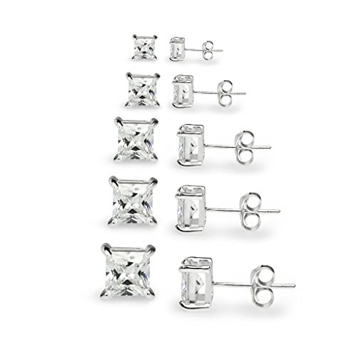 "River Island Jewelry –""5 Pairs"" Sterling Silver Square Princess Cut CZ Stone (3 Stone Basket Setting)"
