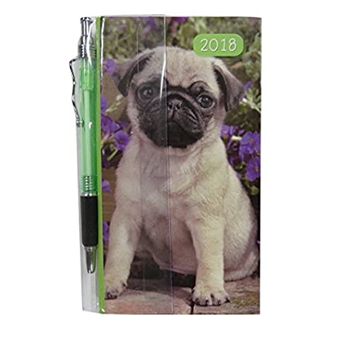 2018 Slim Pocket, Purse Hard Cover Diary and Pen - Puppy - Week to View - 6.3