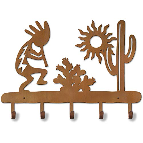 Cold Nose Creations 24in Southwest Theme Kokopelli Desert Scene Decorative Metal Wall Mount 5-Hooks Hat and Coat Rack