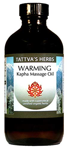 Kapha Massage Oil - Organic Non GMO - Warming, Stimulating, Alleviating Congestion and Stagnation - Turmeric, Ginger Lily, Cedar Wood, Cinnamon and Shamama - 4 oz. from Tattva's Herbs. ()
