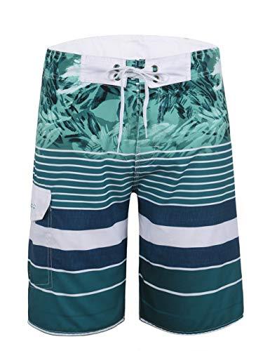Unitop Men's Surf Shorts Summer Holiday Striped Water Shorts Quick Dry Green Printed 42 ()