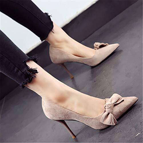 da stile e fiocco europeo scamosciata pelle ed punta con con temperamento Tacchi in in a scarpe C americano YMFIE spillo sexy STBnZ