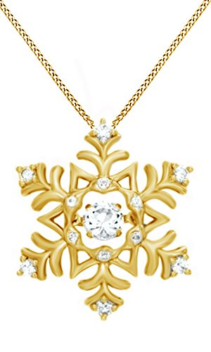 Jewel Zone US Simulated White Sapphire Snowflake Pendant in 14K Yellow Gold Sterling Silver ()