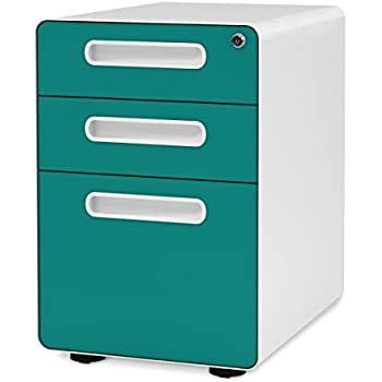 DEVAISE 3 Drawer Mobile File Cabinet With Anti Tilt Mechanism,Legal/Letter  Size (Blue)