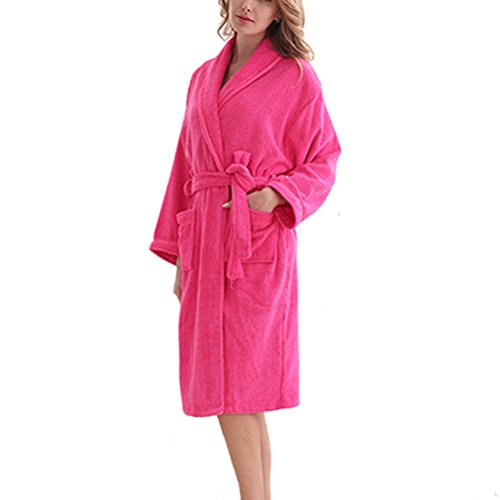 Zhhlaixing Summer Lovers Flannel Neutral Super Soft Luxury Robes Dressing Pijama Gown Rose Red