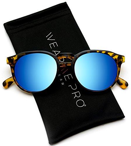 (WearMe Pro - Retro Round Flat Top Frame Mirrored Fashion Sunglasses)