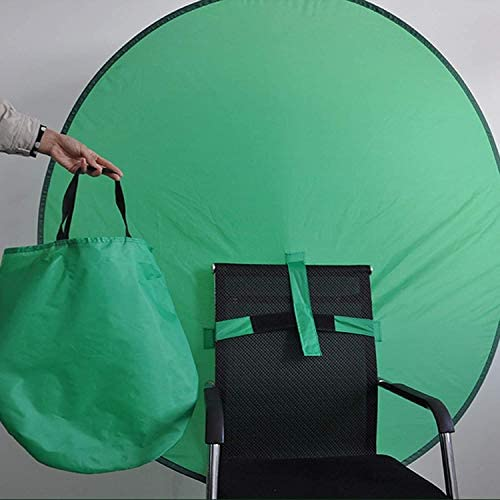 44INCH PORTABLE GREEN SCREEN CHAIR, PORTABLE WEBCAM GREEN BACKGROUND COLLAPSIBLE GREEN SCREEN POP UP GREEN SCREEN PORTABLE BACKDROP (110CM/44INCH, GREEN)