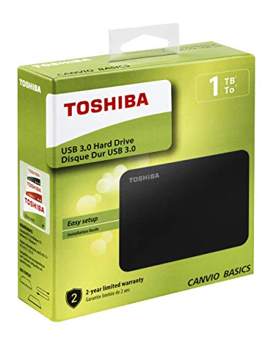 TOSHIBA HDTB410EK3AA Canvio Basics, Disco Rigido Esterno Portatile, USB 3.0, 1 TB, Nero