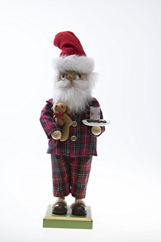 "Clever Creations Traditional Wooden Pajama Santa Christmas Nutcracker Collectible Mr. Claus in PJs | Festive Holiday Décor | Holding Milk, Cookies, and Teddy Bear | 100% Wood | 12"" Tall from Clever Creations"