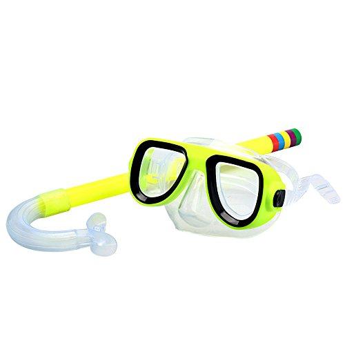 Kids / Children Snorkel Set, Swimming Goggles Semi-dry Snorkel Equipment for Boys and Girls Junior Snorkeling Gear Age 5 Plus (Yellow)