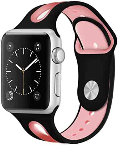 Compatible for Apple Watch Band 38mm 40mm 42mm 44mm,Breathable Silicone Band Replacement for iWatch Series 4 3 2 1,Nike+