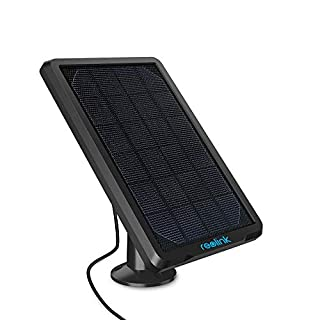 REOLINK Solar Panel Power Supply Designed for Wireless Outdoor Security Camera Rechargeable Battery Powered Reolink Go/Argus Eco/Argus 2/Argus Pro/Argus PT, Non-Stop Charging (Black)