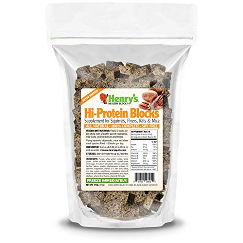 Henry's Hi-Protein Blocks - The Only Food for Squirrels, Flyers, Rats and Mice Baked Fresh to Order, 11 ounces