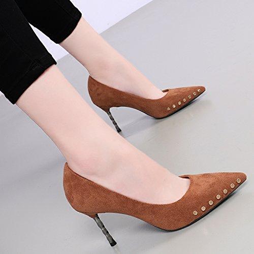 KHSKX-Son De Color Negro Con Punta Fina Rivet Todos Coinciden Zapatos De Tacón De 8 Cm En Nueva Brown beans