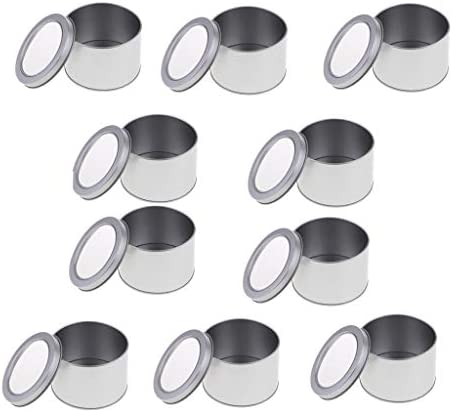 chiwanji 10個入り ブリキ缶 ラウンドケース ミニボックス メタル 収納ケース 蓋付き コンテナ 雑貨入れ
