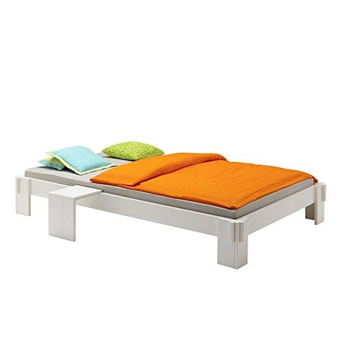 Futonbett Jugendbett Bett LUIS Kiefer massiv weiss lackiert 90 x 200 cm (B x L)