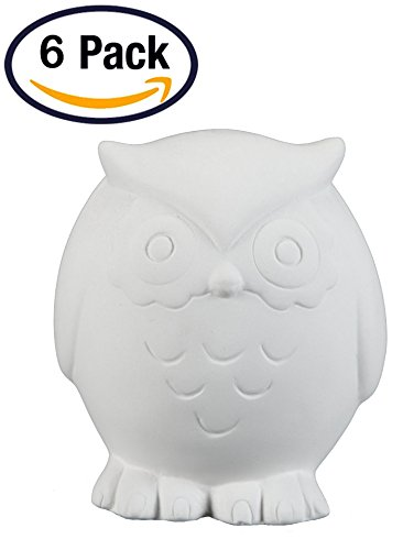 Creative Hobbies Tiny Tot Hoot Owl, Case of 6, 3 Inch Tall, Unfinished Ceramic Bisque, With How To Paint Your Own Pottery Booklet