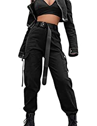 Womens High Waisted Cargo Pants Pockets Casual Loose Combat Twill Trousers Girls