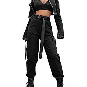 AOWEER Women High Waisted Cargo Pants Pockets Casual Loose Combat Twill Trousers Girls