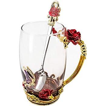 LANTREE Crystal Teacup Coffee Mug Lid Spoon Saucer Christmas Birthday Gift for Women Grandma Mum Sister Home Decoration Red Short