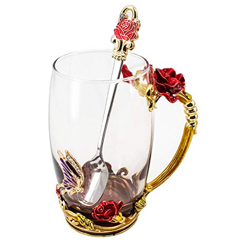 (Glass Tea Mug with Spoon, Lead Free Handmade Enamel Rose Flower and Butterfly Clear Glass Coffee Cup, Unique Christmas Birthday Gift Ideas for Mom Women Grandma Female Friend Mother's Day 12oz)