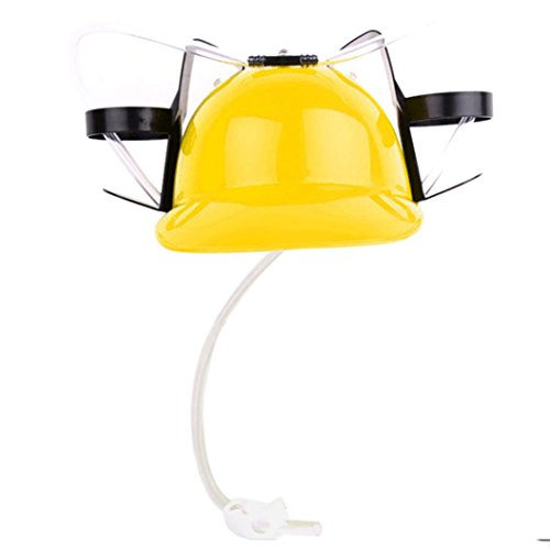 Ecosin Party Bar Style Drinking Straws New Exotic Beer & Soda Guzzler Helmet & Drinking Hat Novelty Gift Toys (Yellow) Hat New Beer