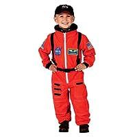 Traje de astronauta Aeromax Jr. con gorra bordada y parches de la NASA, NARANJA, tamaño 2/3