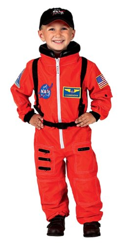 Adult Orange Astronaut Costumes (Aeromax Jr. Astronaut Suit with Embroidered Cap and NASA patches, ORANGE, Size 2/3)