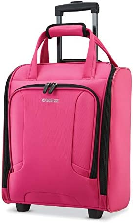 American Tourister 92457-1694 4 Kix Expandable Softside Luggage with Spinner Wheels, Pink, Underseater