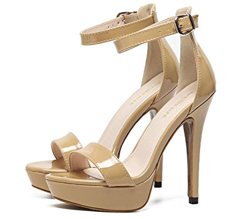 sandali alto Sexy Caviglia Scarpe Vestito UK Discoteca Donna Dito piede Nero Cinghia Fibbia 4 Tacco 36 Festa Lavoro 3 Stiletto EUR Sbirciare 5 del piattaforma Ax5qwqpd