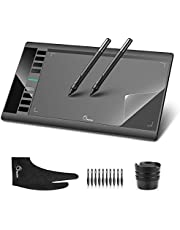 """Parblo A610 10"""" x 6"""" Graphic Drawing Tablet with 8 Express Keys, 2 P50S Rechargeable Pen, Replacement Nibs, Transparent Film and Two-Finger Glove"""